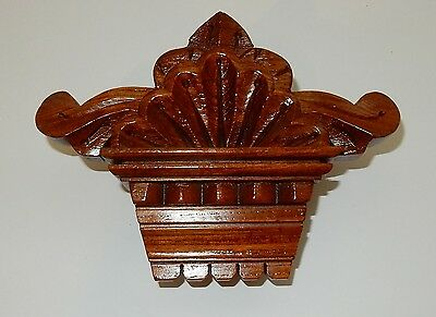 Small 8 Inch Antique Carved Oak Pediment