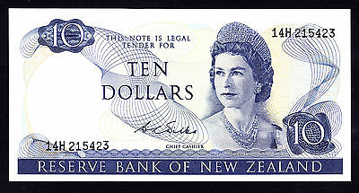 New Zealand $10 Wilks 1968 - 1975  gEF Note  Prefix 14H  P. 166b  QEII RARE