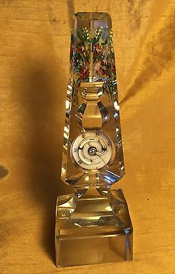 Victorian Glass Obelisk Reverse Painted Cut Intaglio Flower Vase & Thermometer