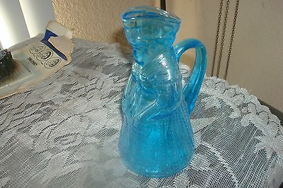 Colonial Lady Figure Syrup Pitcher  Blue Glass