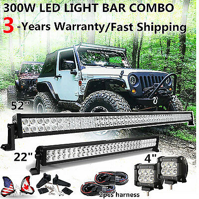 """52"""" LED Light Bar Combo +22""""+2 x 4"""" CREE PODS OFFROAD SUV 4WD ATV FORD JEEP 50"""""""