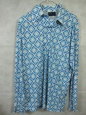 AMAZING Vintage Disco Pullover Shirt Blue Geometric Lines by Jockey Trophy L