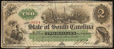 Large 1866 $2 Two Dollar Bill South Carolina Note Obsolete Currency Paper Money