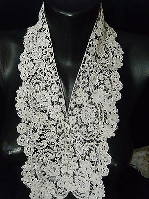 ANTIQUE vtg Collar combo lace HM BELGIAN BRUSSELS DUCHESSE LACE mixed &Honiton