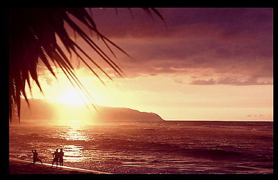 """'LOST' BEACH SUNSET OAHU  HAWAII 20x30"""" GICLEE PHOTO SIGNED BY PHOTOGRAPHER"""