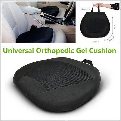 Black Car SUV Drivers Seat Office Chair Stadium w/ Memory Orthopedic Gel Cushion