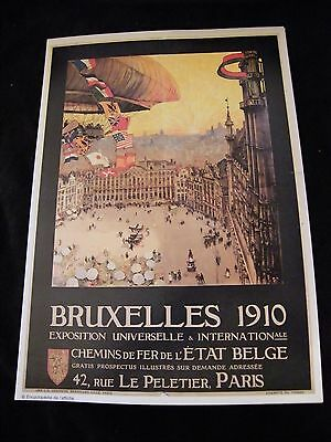 Reproduction affiche Ballon Bruxelles 1910 Exposition Universelle