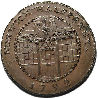 1792 Great Britain Norfolk Norwich Dunham Goldsmith Halfpenny Conder Token DH-28