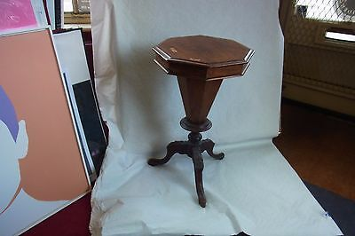 Early (no decoration)  Victorian walnut / mahogany Fitted Sewing Box / Table