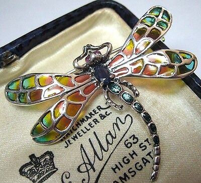 Solid Silver Vintage Style Plique A Jour Enamel Sapphire Dragonfly Pin Brooch...