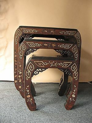 old Estate Chinese inlaid stone TABLE DISPLAY STANDS carved hardwood furniture