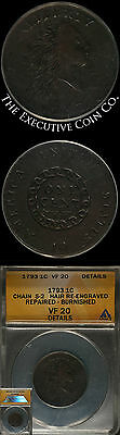 1793 Large 1c ANACS VF20 Details CHAIN S-2 HAIR RE-ENGRAVED REPAIRED - BURNISHED