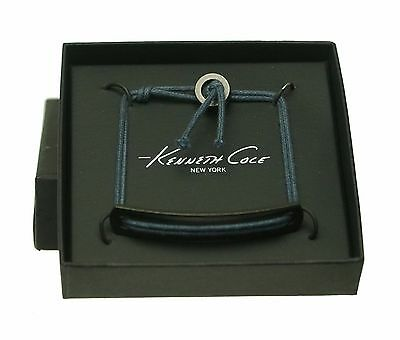 Kenneth Cole Men's Cotton Cord Metal Bracelet Wristband Blue $38