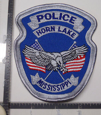 Horn Lake MS Police Patch MISSISSIPPI Eagle FLAGS Grey Border