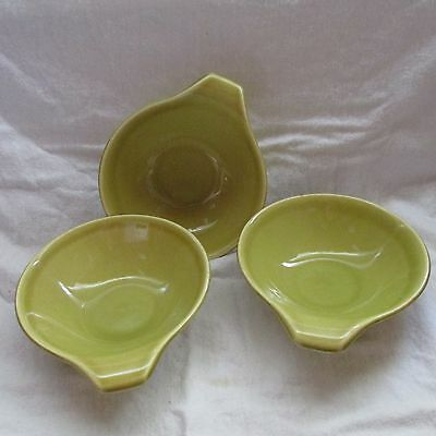 Russel Wright Stubenville. Ohio Vintage Pottery Handled Soup Salad Bowl Lot Of 3