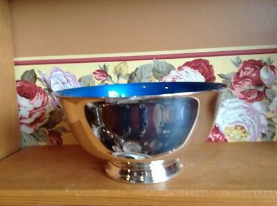 Vintage retro Reed and Barton blue enamel lined silverplate bowl