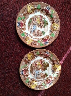 "2 Wood & Sons Enoch Woods Ware England English Scenery 7 3/4"" plates"