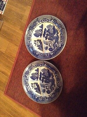 """2 blue willow Japan divided 10 5/8"""" grill plates"""