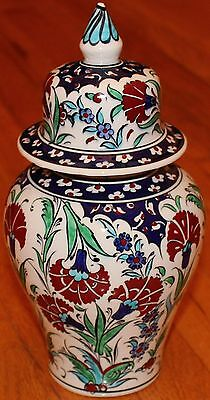 "10""x5"" Handpainted Turkish Iznik Red Carnation Pattern Ceramic Jar Urn Canister"