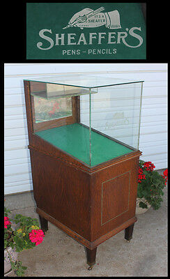 Vintage Sheaffers Stenciled Glass Fountain Pen Pencil Oak Display Case Cabinet