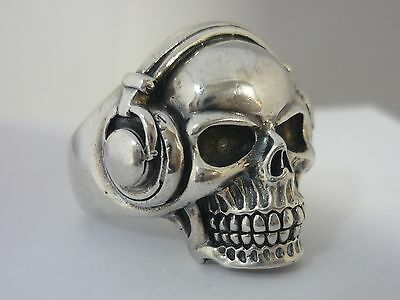 Stunning Heavy Vintage Sterling Silver Skull With Headphones Ring Size Y