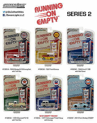 Set of 6: Greenlight Running on Empty Series 2  Diecast Model Cars 1:64 Scale