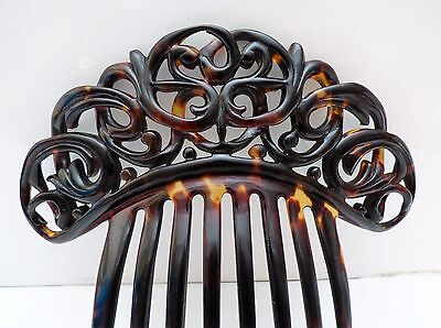 Rare Victorian Hair Comb Faux Tortoiseshell Scrolled Top Hair Comb Stunning 1860