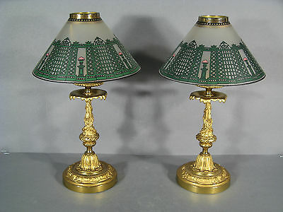 Pair Of Candle Holders Style Louis Xvi / Torch / Candleholder Bronze