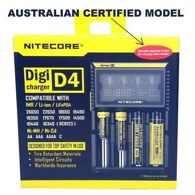 Nitecore D4 Battery LCD Charger AUSTRALIAN MODEL - NIMH Li Ion NiCad IMR LiFePO4