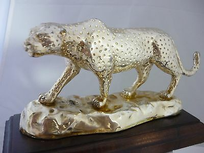 Superb Large Hallmarked Sterling Silver Leopard Sculpture Statue - Afrisilver