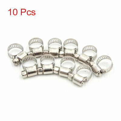 10Pcs Metal Adjustable Car Hose Clip Clamps Pipe Tube Click 6-12mm