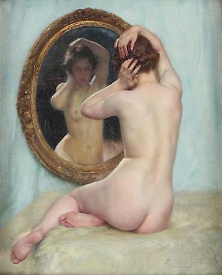 Paul Sieffert Fine Original Antique French Oil Painting of a Nude Lady Signed