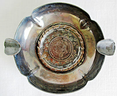 Peruvian One Peseta 1880 Silver Coin Ashtray Sterling Silver 925