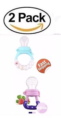 2 Pack Food Feeder Pacifier Nibbler Feeding Bottle Baby Toddler Teether Soother