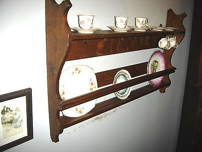 Antique Quarter-Sawn Oak Plate Rack: double plate groove and plate guard 7767