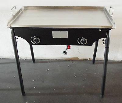 """HEAVY 32"""" x 17"""" Wide Stainless Steel Flat Top Griddle Grill Double Burner Stove"""