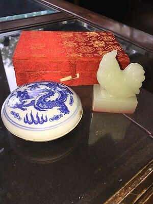 JILL ROOSTER Carved Chinese Soapstone  Seal Stamp in Box with Dish, Wax, Box VTG