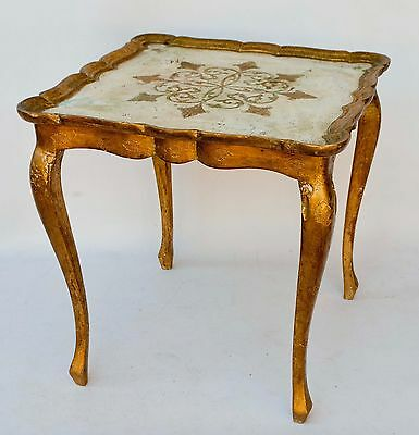 """Square Vintage Italian Florentine Gold White Carved Wood Tole Table 17"""" W"""