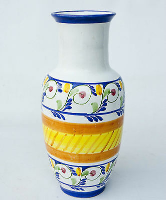 """Large 12"""" Hand Painted Terra Cotta Clay Vase Mexico Excellent Condition"""