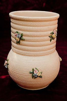 "Italy Albisola  Ceramic Pottery Vase Signed ""ilsa"" Applied Flowers 7 1/2"" Tall"