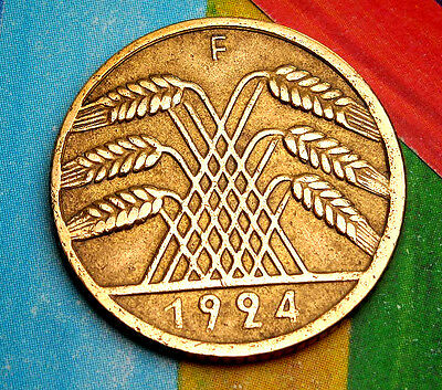 RARE 1924-F Germany Weimar 10 Rentenpfennig German COIN  Pfennig GERMAN Pre-WW2