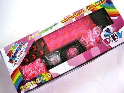 Girls Pink Army CAMO Loom Band Kit Box Board Bands Hook Clips Charms Instruction
