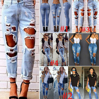 Womens Distressed Ripped Denim Pants Destroyed Boyfriend Jeans Trousers US Stock