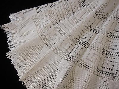 Small Round Vintage Tablecloth Hand Crochet