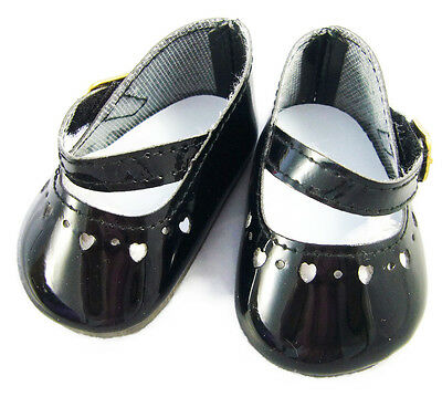 """Black Patent Mary Jane Shoes Heart Cutouts fits 18"""" American Girl Doll Clothes"""