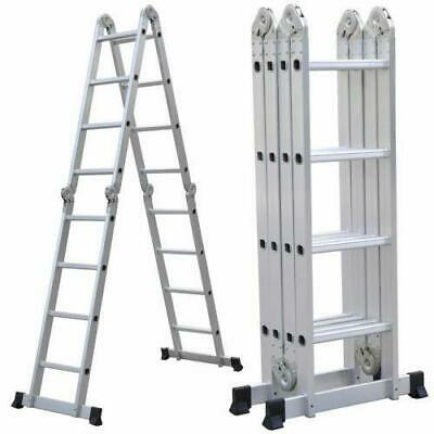 10.5-16.5FT Aluminium Multi-Purpose Foldable Extension Ladder Telescopic Steps