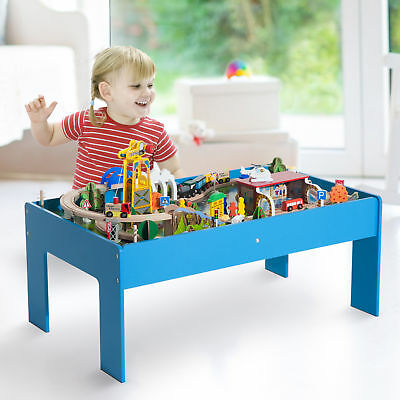 HOMCOM 83pc Train Set Wood Kids Toy Train and Play Table Indoor Activity Blue