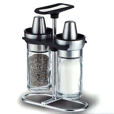 Salt & Pepper Glass Shakers Stainless Steel Bowl Top Lid Stand Spice Restaurant