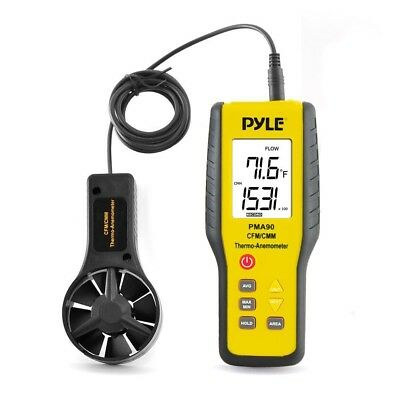 Pyle PMA90 Digital Anemometer / Thermometer for Air Velocity, Air Flow, Temp