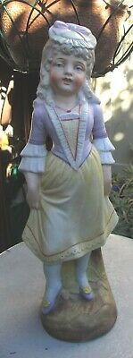 Stunning 19Th Century Continental Bisque Porcelain Figure Young Girl 12 Inch